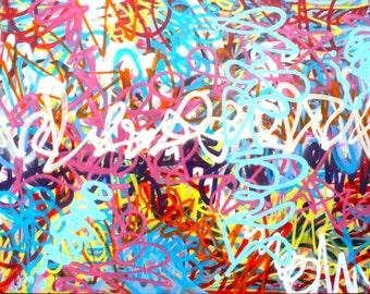 FREE SHIPPING original abstract street art expressionism fine art urban pop art modern contemporary canvas spray paint acrylic painting