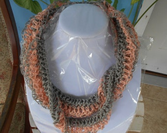 Spring Summer Beach Coral and Evening Grey Made of THREAD Fashion Scarf