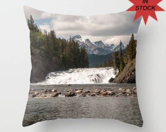 "16"" Mountain Lodge Cushion Case, Banff Photography, Rustic Rock Home Decor, Accent Pillow Covers For A Cabin, Lake House, Bow Falls Alberta"