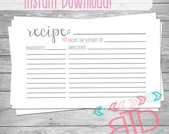 Recipe Card, Printable Recipe Card, Instant Download, Kitchen Decor, Customizable Recipe Card, 4x6 Recipe Cards, Kitchen Cook Book,