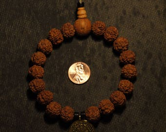 Mini Dragon Rudraksha (10mm Seed) with Phoenix Eye and Ancient Zodiac Plate