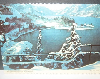 Winter in Columbia River Gorge Vintage Postcard Post Card. Full Color High Gloss.