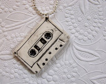 Mix Tape Porcelain Necklace in black and white - retro design
