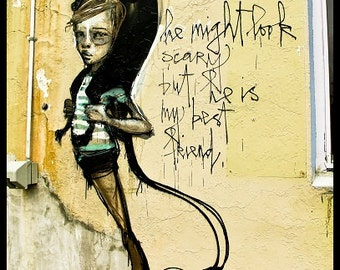 Graffiti Street Art Portsmouth NH Black Cat Street Artist Retro Poetic Art Aqua Yellow Black Halloween Grungy,  Fine Art Print