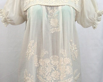 """Mexican Peasant Blouse Top Hand Embroidered: """"La Mariposa"""" Off White"""