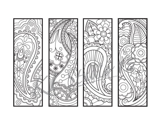 Paisley Coloring Bookmarks Page Instant Download Relax