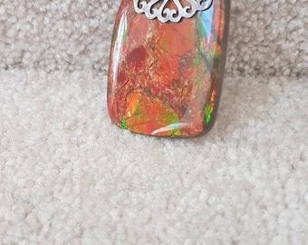 Large Bright red ammolite pendant