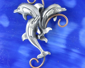 Dolphins Brooch- Dolphin Pin- Dolphin Jewelry
