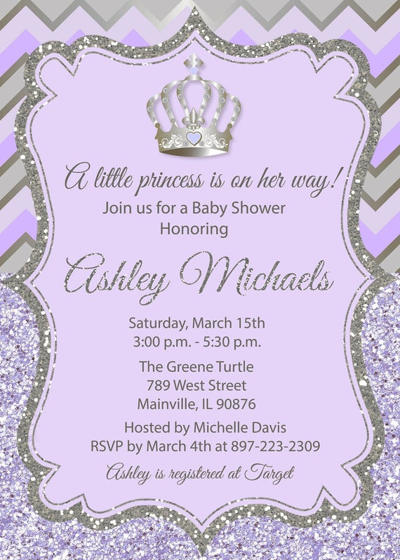 Princess baby shower invitation purple silver glitter like this item filmwisefo Choice Image