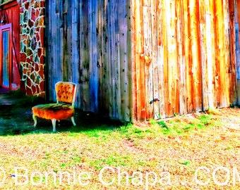 Giclee Print Vintage Velvet Chair Barn Texas Limited Edition Wall Art