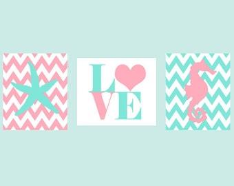 Beach Nursery, Seahorse Print, Starfish Wall Art, LOVE print, Baby Girl Nursery Art, Aqua, Pink, Chevron Nursery, Girl Room, Baby Gift