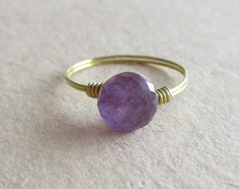 Amethyst gemstone briolette wire wrapped ring - size 5 1/4