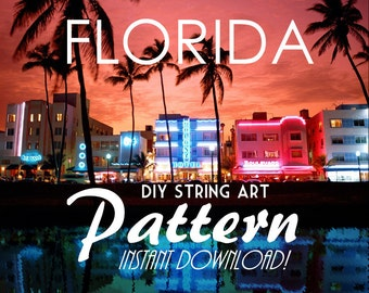 "Florida - DIY State String Art Pattern - 10"" x 9.5"" - Hearts & Stars included"