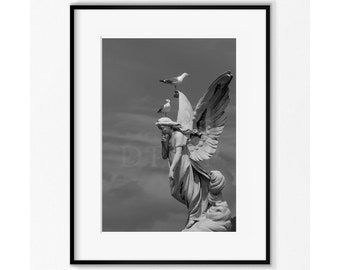 Seagulls on top of an angel statue, Art Print , Art Photography , Angel Photography, Angel Art Print, Angel wall decor