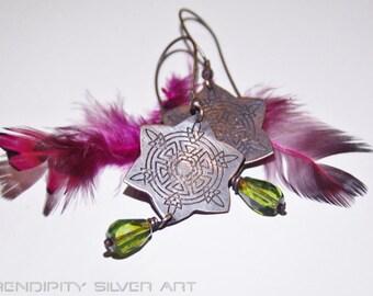 20% SALE -Indian Summer - Dream catcher aztec ornament earrings.by Serendipity