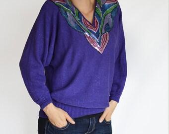 SALE 90's Vintage Sweater Purple Sequin Neckline Sz Large