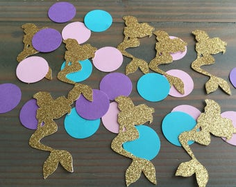 100 gold glitter, teal, pink and purple mermaid and circle confetti, under the sea birthday, baby shower, little mermaid, table confetti