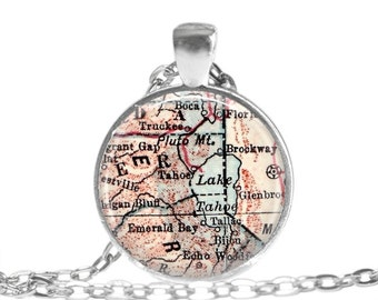 Tahoe, California map necklace charm, Lake Tahoe charm pendants, grandparent gift, grandma gift, groom gift, bachelorette gift, A110