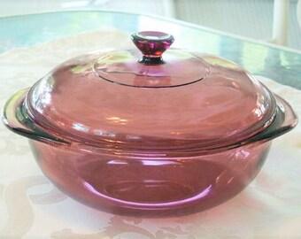 Pyrex Originals Cranberry Glass 1.5 Qt Round Casserole Dish #023 with Lid #623C Ovenware Baking Dish