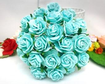 25 pcs. light blue Rose Mulberry Paper Flower Craft Handmade Wedding 20 mm Scrapbook #167