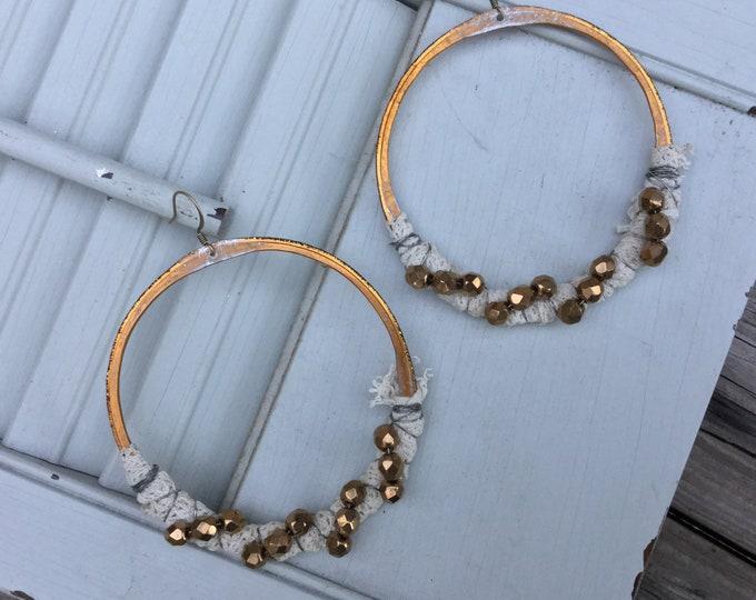Bronze Lace Wrapped Large Boho Hoop Earrings
