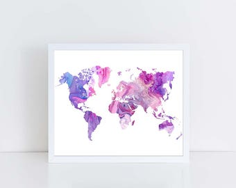 Pink purple map art etsy world map marble worldmap large world map art world map outline gumiabroncs Image collections