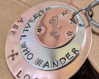 Not All Who Wander are Lost hand stamped triple layer copper and aluminum jumbo keychain ... great gift idea for 4x4 Wrangler fans OIIIIIIIO