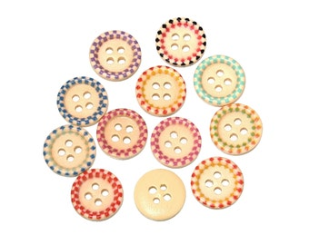 Wood sewing buttons 15mm -  25 Mixed Aztec Buttons (BB110B)