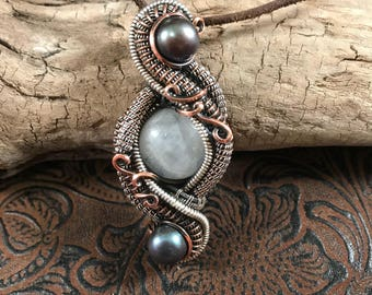 Moonstone in copper and sterling silver