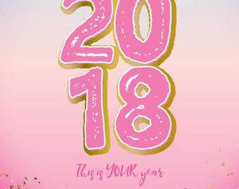 New year pink greeting card, softest paper ever!