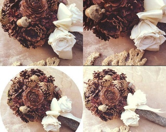 Rustic Wedding Bouquet - Bridal Bouquet - Unique Bridal Bouquet - Fall Wedding Bouquet - Pine Cone Bridal Bouquet - Alternative Bouquet