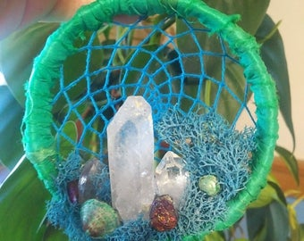 Crystal Cavern Dreamcatcher ornament/wall hanging/decoration - Teal Under the Sea