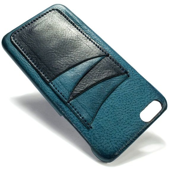"""iPhone 6S PLUS display 5.5"""" Italian Leather Case with 4 credit cards holder vertical SLOTs choose the color of BODY and ACCENT"""