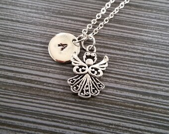 Small Silver Angel Necklace - Charm Necklace - Personalized Necklace - Initial Necklace - Guardian Angel Necklace - Mommy Baby Jewelry