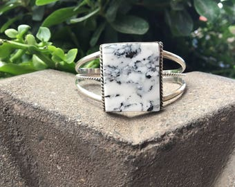 White Buffalo Sterling Silver Cuff Bracelet, White Buffalo Bracelet, CJ Butler Hand Made Sterling Silver Bracelet