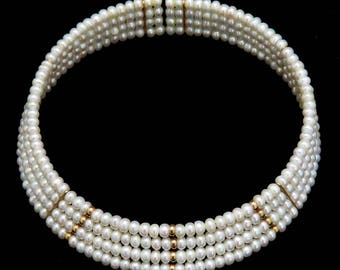 Unique 6 Strand Pearl & 14K Yellow Gold Bead Collar Choker Necklace