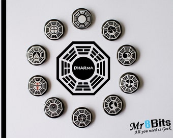 Dharma Pinback Buttons Collection, Lost Inspired Pinback Buttons