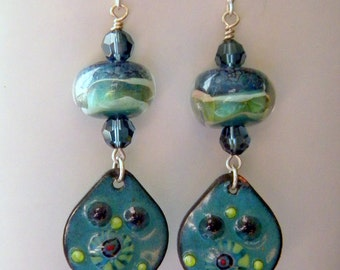 Lampwork Beads and Enameled Copper Charm with Montana Blue Swarovksi Crystals Dangle Earrings Denim Blue