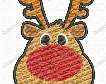 Red Nose Reindeer Embroidery Design in 2x2 3x3 4x4 and 5x7 Sizes