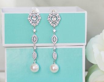 Pearl Wedding Jewelry   Rose Gold Earrings   Long Bridal Earrings   Pearl Earrings   Bridal Jewelry   Pearl Dangle Earrings   Weddings