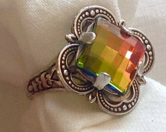 oS ADELA So vitrail and silver medieval ring