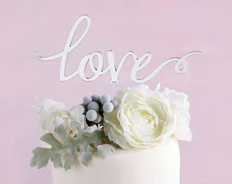 Wedding Cake Topper Love in Silver