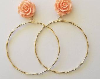 Big dangle earrings, rose earrings, Frida earrings, statement earrings,arracadas, Mexican earrings, chandelier earrings, vintage earrings