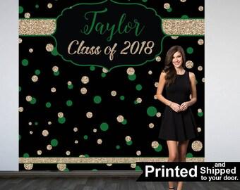 Graduation Photo Backdrop - Congrats Grad Personalized Photo Backdrop- Class of 2018 Photo Backdrop- Photo Booth Backdrop, Printed Backdrop