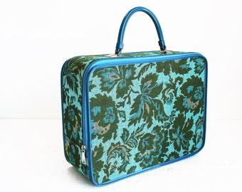 Vintage Luggage Floral Cloth Avon Sample Suitcase Overnight Bag