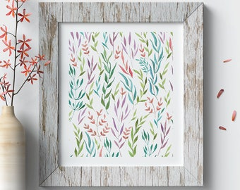 Printable Wall Art, Colorful Leaves Pattern, Watercolor Print, Floral Print, Pattern Decoration,Pattern Art,Pattern Decoration,Botanical Art