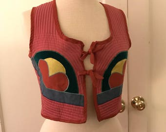 60's vest crop top folk art festival boho