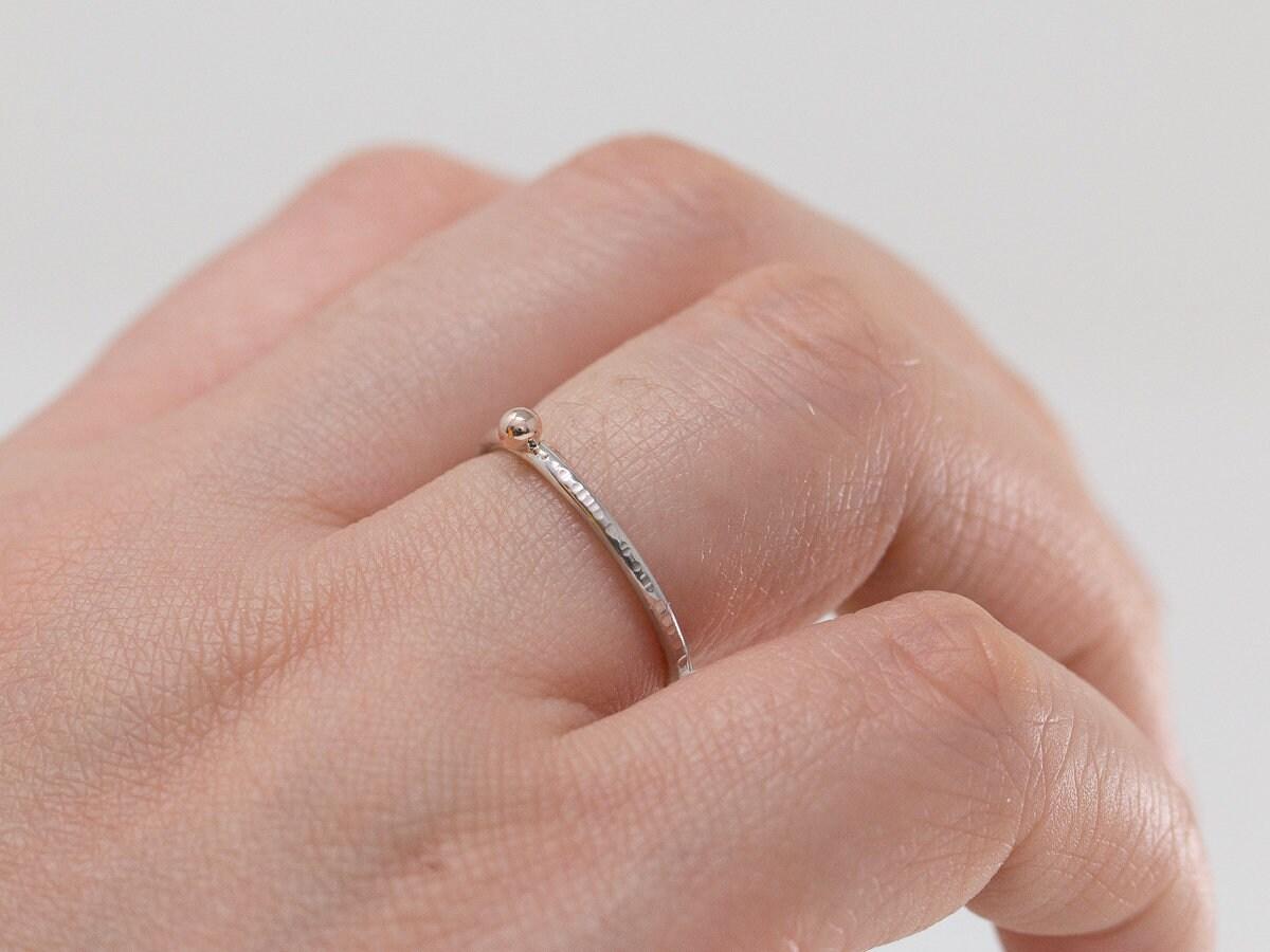 Solid 9ct Rose Gold Dot Ring Silver n Gold Stacking Ring Rose Gold ...