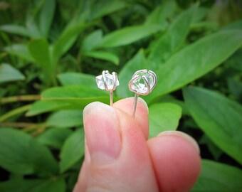Minimal Herkimer Diamond Stud Earrings, Boho Raw Rough Stone Earrings, April Birthstone, Sterling Silver, 14k Gold Filled, Gift For Her
