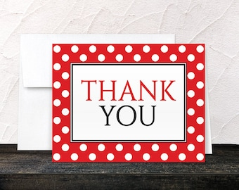 Polka Dot Red Thank You Cards - Black White Red Polka Dot Thank You Cards - Printed